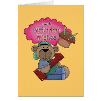 El cumpleaños dulce desea cumpleaños de 1 año tarjeta de felicitación