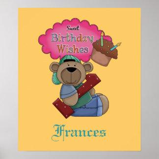 El cumpleaños dulce desea el poster de 1 año del c