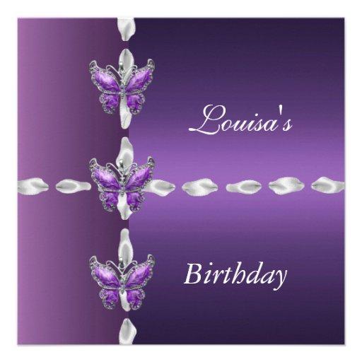 El cumpleaños elegante invita a la mariposa de la  comunicado personalizado