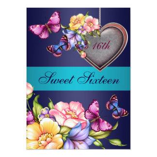 """El cumpleaños floral azul de la mariposa Sweet16 Invitación 5.5"""" X 7.5"""""""