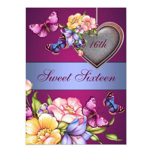 """El cumpleaños floral de la mariposa Sweet16 invita Invitación 5.5"""" X 7.5"""""""