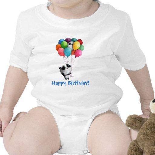 El cumpleaños hincha el oso de panda camisetas