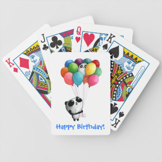 El cumpleaños hincha el oso de panda baraja de cartas