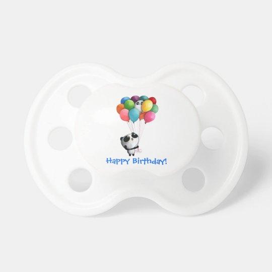El cumpleaños hincha el oso de panda chupete de bebe