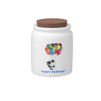 El cumpleaños hincha el oso de panda jarras para caramelos