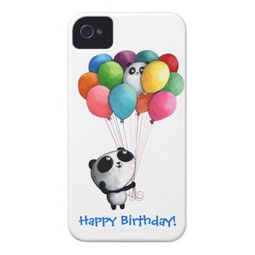 El cumpleaños hincha el oso de panda Case-Mate iPhone 4 protectores