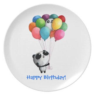El cumpleaños hincha el oso de panda plato de cena