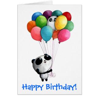 El cumpleaños hincha el oso de panda tarjeta de felicitación