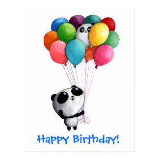 El cumpleaños hincha el oso de panda tarjeta postal