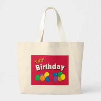 El cumpleaños hincha el tote bolsas lienzo