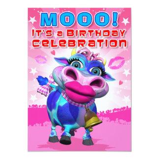"""El cumpleaños invita a MOO del beso (el Invitación 4.5"""" X 6.25"""""""
