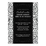 El cumpleaños invita - a remolino negro y blanco invitación 12,7 x 17,8 cm