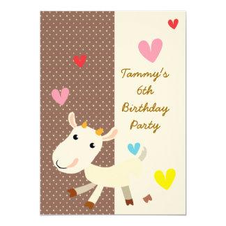 """El cumpleaños invita con la cabra linda del dibujo invitación 5"""" x 7"""""""