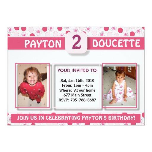 El cumpleaños Invitation-2 del chica Invitación 12,7 X 17,8 Cm