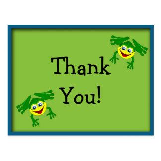El cumpleaños lindo de la rana verde le agradece tarjeta postal