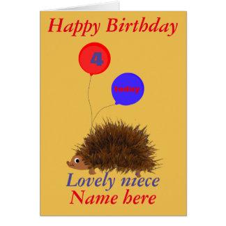 El cumpleaños lindo de la sobrina del erizo añade tarjeta