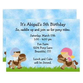 """El cumpleaños lindo del caballo de los muchachos invitación 5"""" x 7"""""""