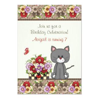El cumpleaños lindo del gato, de las flores y de invitación 12,7 x 17,8 cm