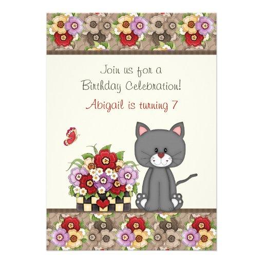 El cumpleaños lindo del gato, de las flores y de l invitaciones personalizada