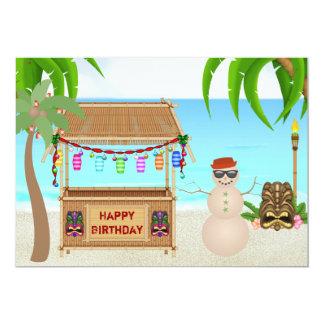 """El cumpleaños lindo del invierno de la playa del invitación 5"""" x 7"""""""