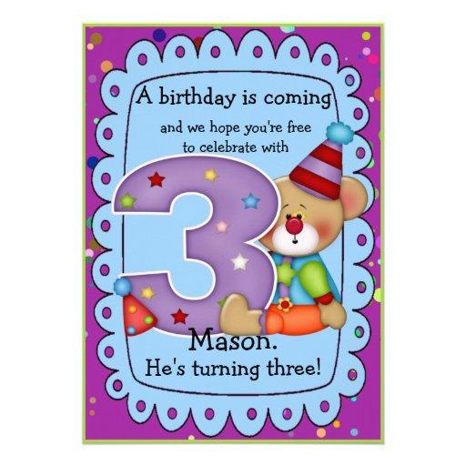 El cumpleaños lindo del oso invita a la edad 3 invitacion personalizada