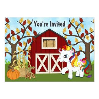 El cumpleaños lindo del potro y del caballo del invitación 11,4 x 15,8 cm
