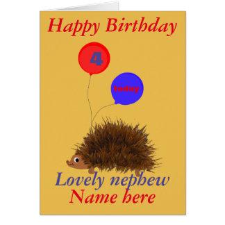 El cumpleaños lindo del sobrino del erizo añade la tarjeta de felicitación
