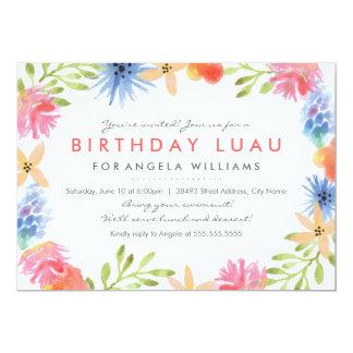 """El cumpleaños Luau del paraíso invita Invitación 5"""" X 7"""""""