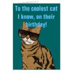 El cumpleaños más fresco del gato tarjetas