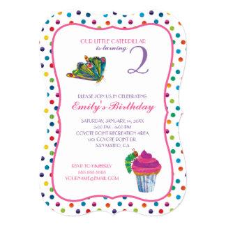 """El cumpleaños muy hambriento de la mariposa de invitación 5"""" x 7"""""""