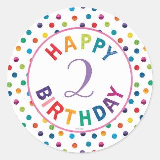 El cumpleaños muy hambriento de la mariposa de pegatina redonda