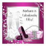 El cumpleaños negro rosado de la mujer de los invitacion personal