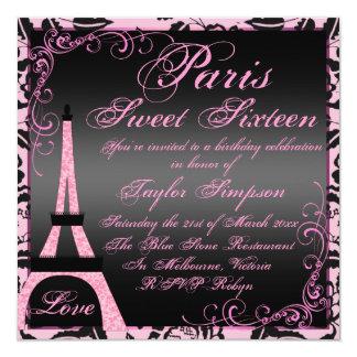 """El cumpleaños negro y rosado elegante de París Invitación 5.25"""" X 5.25"""""""