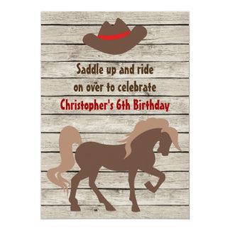 """El cumpleaños occidental del gorra del caballo y invitación 5"""" x 7"""""""