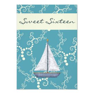 El cumpleaños personalizado del velero del dulce invitación 12,7 x 17,8 cm