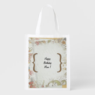 El cumpleaños personalizado florece el papel del bolsa reutilizable