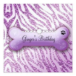 El cumpleaños púrpura del chucho elegante 311 invitación 13,3 cm x 13,3cm