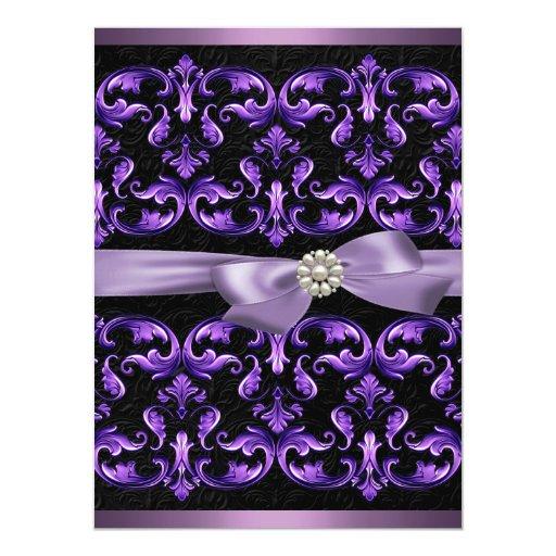 El cumpleaños púrpura del damasco y del arco invitación personalizada