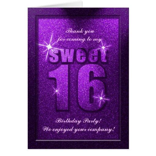 El cumpleaños púrpura del dulce 16 del brillo le a tarjeta pequeña