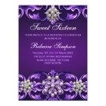 El cumpleaños púrpura del dulce 16 del damasco y invitacion personalizada