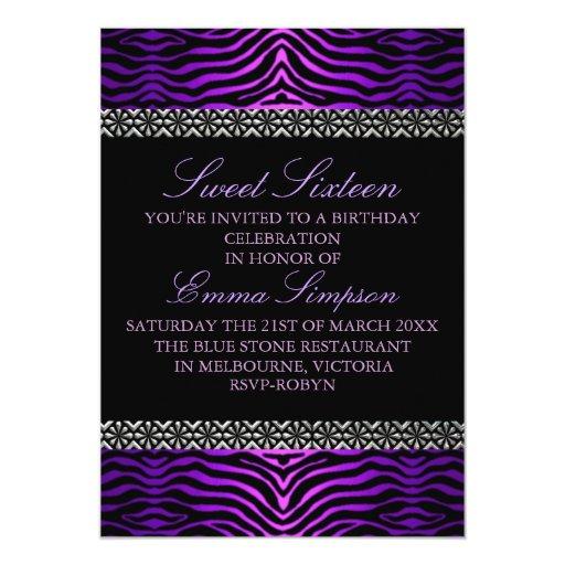 """El cumpleaños púrpura moderno del estampado de invitación 5"""" x 7"""""""