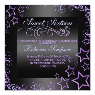 """El cumpleaños púrpura/negro de la estrella Sweet16 Invitación 5.25"""" X 5.25"""""""