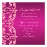 El cumpleaños Quinceañera del damasco del remolino Invitacion Personalizada