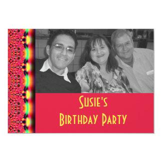 """el cumpleaños rojo del cordón invita invitación 5"""" x 7"""""""