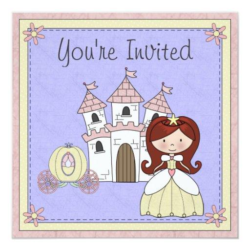 El cumpleaños rojo lindo de la princesa cuento de invitación 13,3 cm x 13,3cm