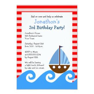 """El cumpleaños rojo y azul del velero lindo invita invitación 5"""" x 7"""""""
