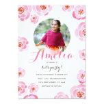 El cumpleaños rosado de la foto de los rosas comunicado personalizado