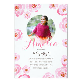 """El cumpleaños rosado de la foto de los rosas invitación 5"""" x 7"""""""