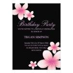 El cumpleaños rosado y negro del Frangipani invita Comunicado Personalizado