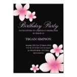 El cumpleaños rosado y negro del Frangipani invita Invitación 11,4 X 15,8 Cm